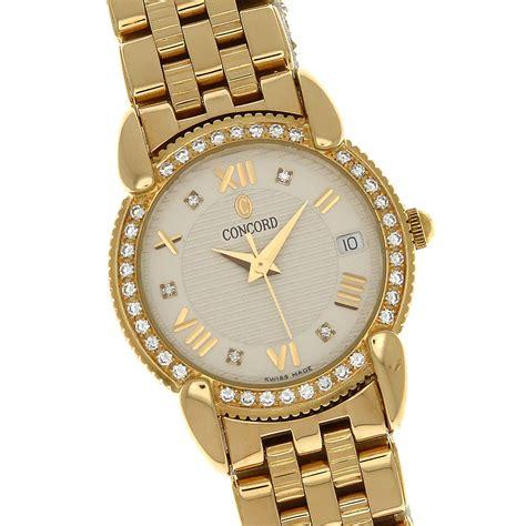 Concord Ladies 18k Solid Gold Watch Diamond Bezel Bracelet. Cobra Watches. Heart Shaped Lockets. Michael Kors Pendant. Yellow Gold Bangle. Lady Bangles. Pear Eternity Band. Square Diamond Bands. 72 Carat Diamond