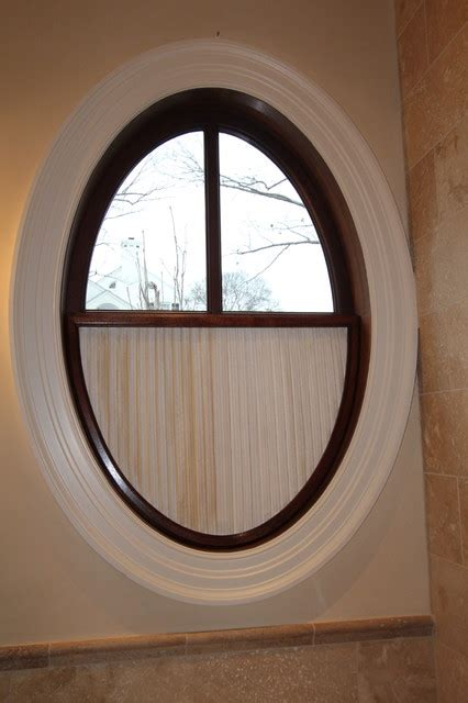 Half Bathroom Wall Decor by Oval Window With Pleated Shade Traditional Nashville