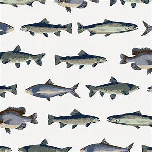Navy and Seafoam Fish Fabric by the Yard Navy Fabric