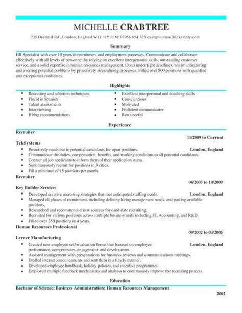 Excellent Cv Layout Template by Recruiter Cv Template Cv Sles Exles