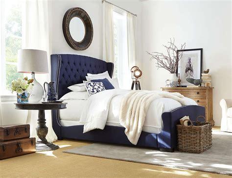 Naples Upholstered Bed (navy Blue)