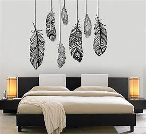 wall vinyl decal feather romantic bedroom dreamcatcher With vinyl wall decal