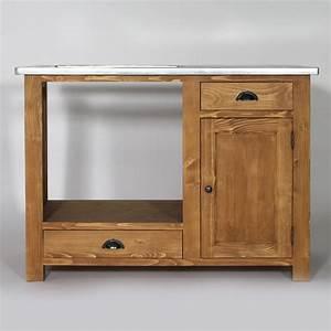 meuble de cuisine en bois pour four et plaques campagne With deco cuisine pour meuble en pin massif
