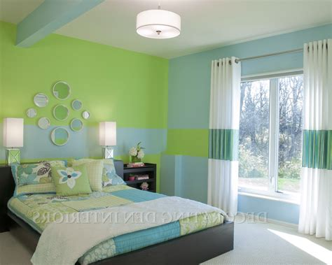 Bedroom Wall Painting Green And Blue Colour  Home Combo