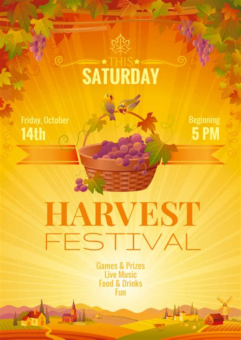 Harvest festival poster event template fall party