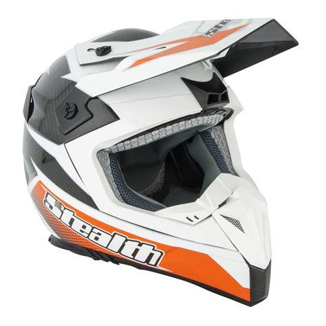 white motocross helmet stealth hd210 carbon fibre gp replica white black orange