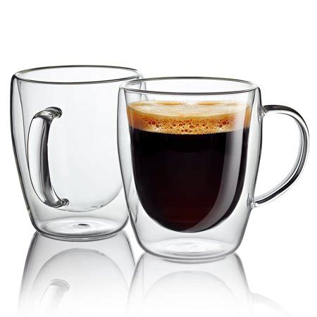 The plain white and brown kraft double wall paper coffee cups are made from. JECOBI Set of 2 double wall glass with handle 10 Ounce Coffee Mugs Glass Cups - Walmart.com