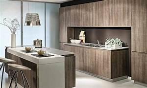 Cuisine moderne en bois deco cuisine sans poignees avec for Deco cuisine avec meuble en bois