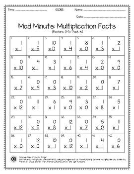 mad minute multiplication facts 0 12 tpt