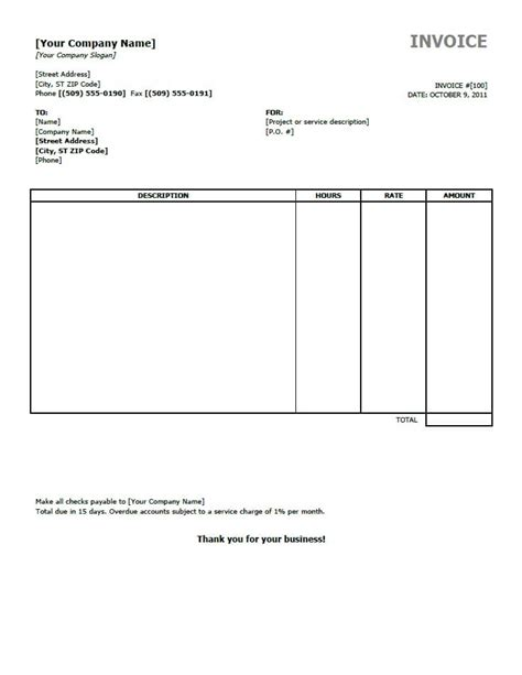 invoice templates  word excel open office