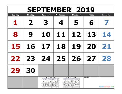 september  printable calendar template  month