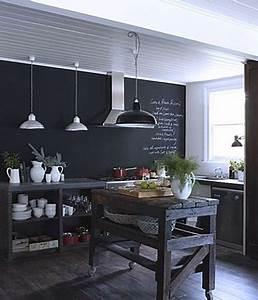 Tableau Craie Cuisine : la peinture tableau noir fait parler les murs de la cuisine ~ Teatrodelosmanantiales.com Idées de Décoration