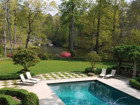 backyard view blends traditional landscaping