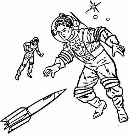 Coloring Future 70s Imagination Pages Astronaut Printable