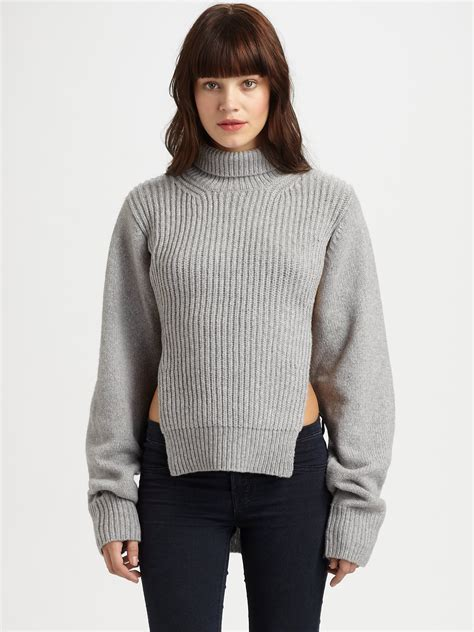 dickie sweater lyst wang chunky dickie twinset sweater in gray