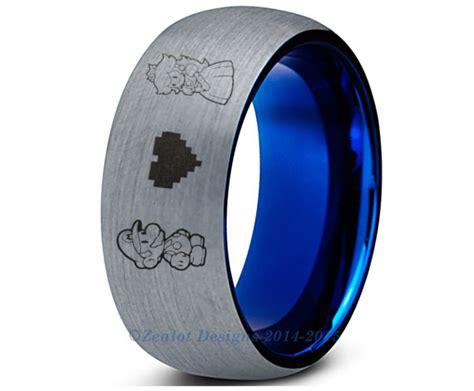 super mario blue tungsten wedding band ring mens womens brushed dome cut luigi bowser