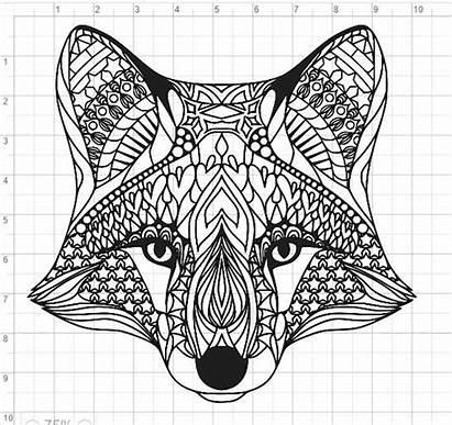 Mandala Fox Svg Pdf Coloring Cut Dxf