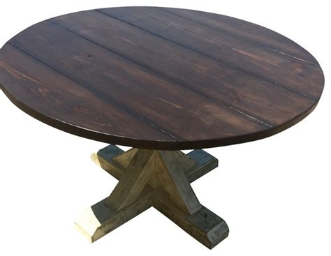 outdoor farmhouse dining table round trestle table 60 quot in diameter farmhouse outdoor
