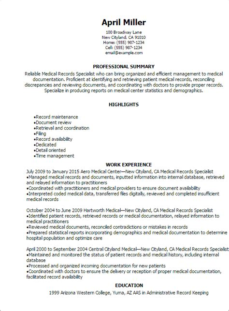 Records Description Resume by Records Specialist Resume Resume Telates