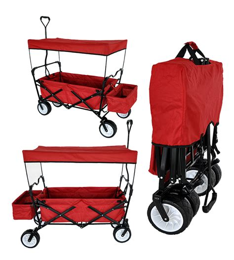 folding wagon with canopy outdoor folding wagon canopy garden utility travel cart