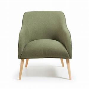 Fauteuil Bois Et Tissu : fauteuil tissu varese rembourr et bois naturel norbert by drawer ~ Teatrodelosmanantiales.com Idées de Décoration