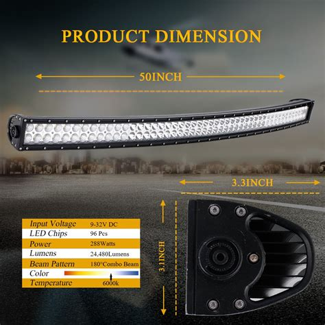 Curved Led Light Bar Lamp Pods Cube Wiring For