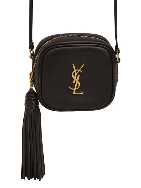 saint laurent monogram leather shoulder bag  tassel
