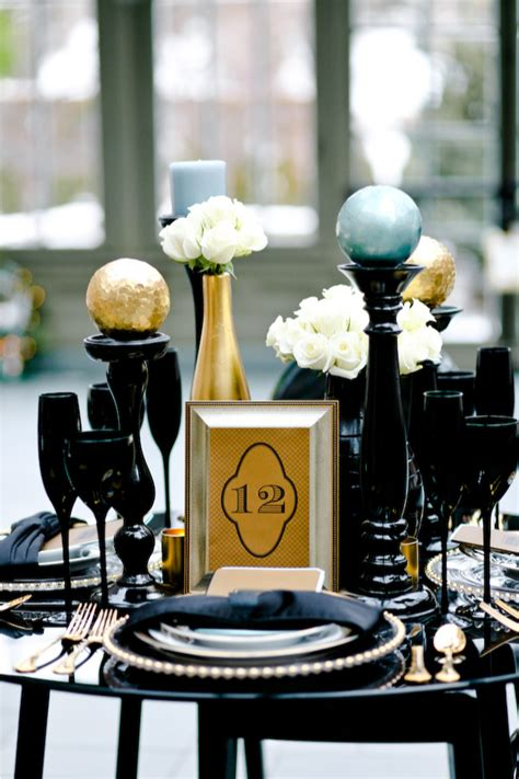 black white and gold centerpieces for wedding white wall black and gold