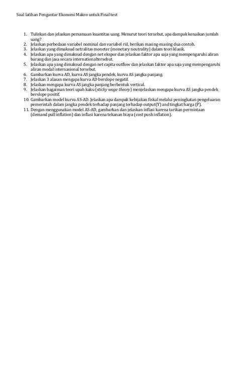 Contoh Ekonomi Makro Jangka Pendek - Contoh 408