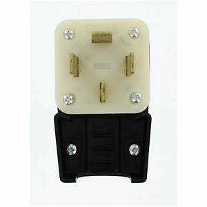Leviton 60 Amp 120  208-volt Straight Blade Non-grounding Angle Plug  Black  White-8362-p