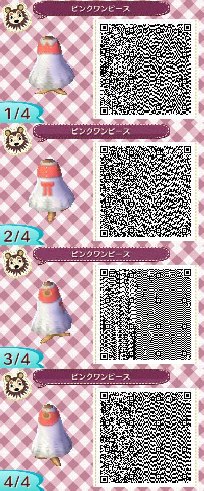 Kode A31022 White animal crossing new leaf pink and white dress qr code