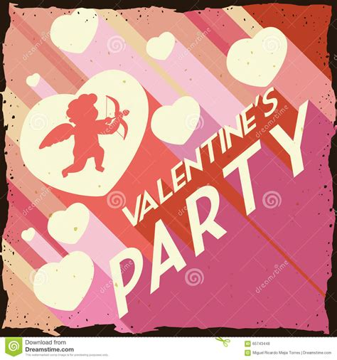 Valentine S Day With Hearts And Cupid In Retro Party ...