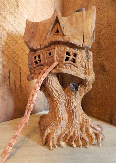 cottonwood bark    tree house wood carving