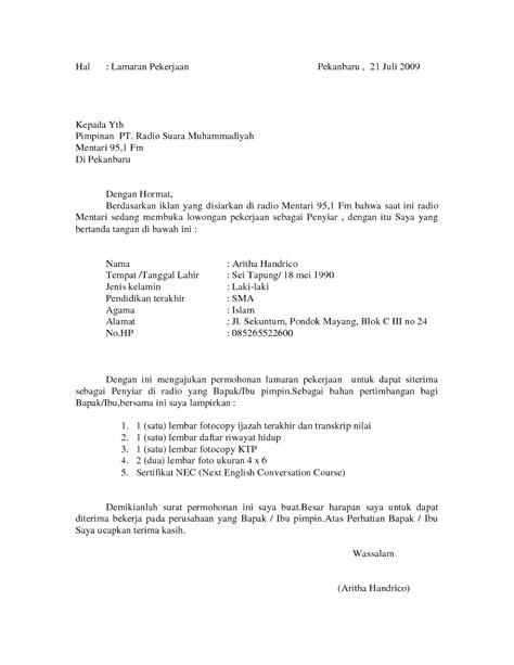 Surat Lamaran Pekerjaan Docx by Contoh Surat Lamaran Kerja Sebagai Penyiar Radio Contoh