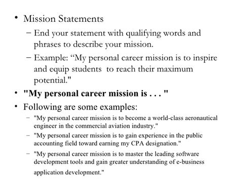 personal mission statements college homework help and tutoring