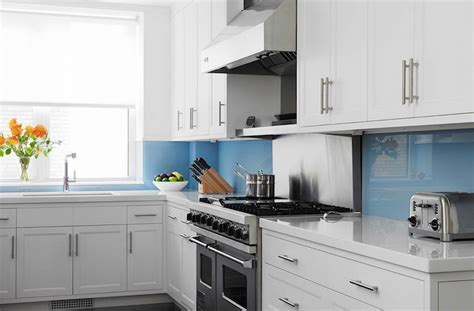 white kitchen cabinets with blue glass backsplash white quartz backsplash design ideas 2203