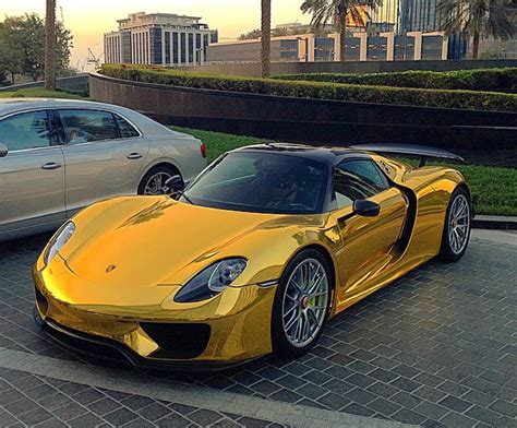 gold porsche truck video gold chrome porsche 918 spyder weissach car