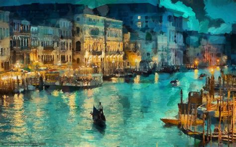 Download Wallpaper Night, Venice, Lights, Channel Free