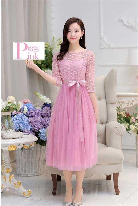 gaun dress panjang korea cantik  pesta