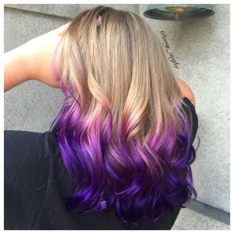 Purple Ombre Melt On Blonde Hair By Amyziegler