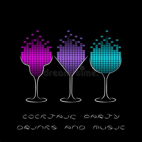 Cocktail Party Template With Glasses And Equalizer Stock