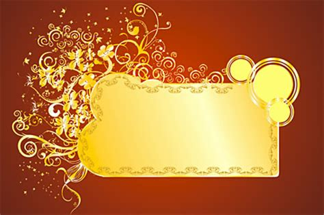 ornate gold colored pattern vector material