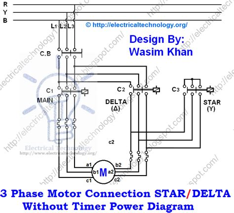 three phase motor connection delta without timer power diagrams electrical