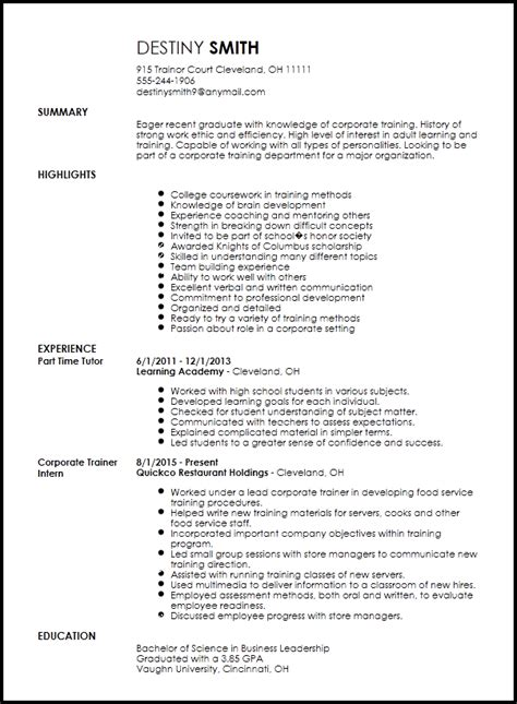 Corporate Resume by Free Entry Level Corporate Trainer Resume Template