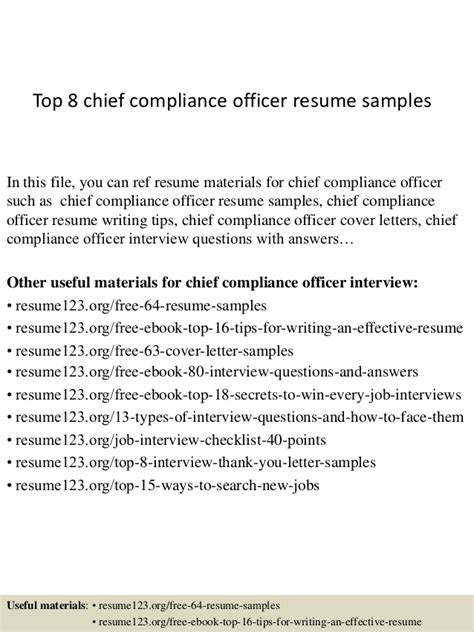 top 8 chief compliance officer resume sles