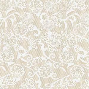 Spanish Lace Print Lokta Paper - White on Cream