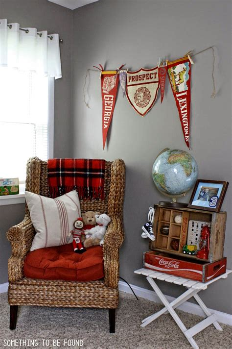 Sports Corner In The Boys Room by Something To Be Found This Vintage Sports Bedroom Is