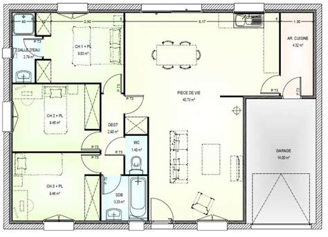 plan de maison gratuit 3 chambres plan de maison 3 pieces gratuit