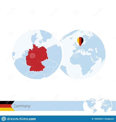 Main borders are austria, belgium, czech republic, denmark. Germany On World Globe With Flag And Regional Map Of Germany Stock Vector - Illustration of ...