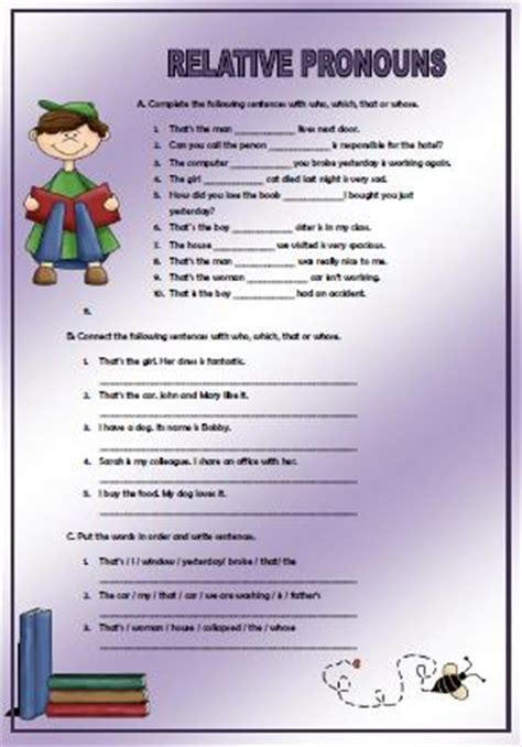 Relative Pronouns Elementary Worksheet